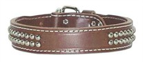 Leather Dog Collar with Dome Studs