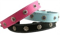 Leather & Crystals Dog Collars 1 inch wide