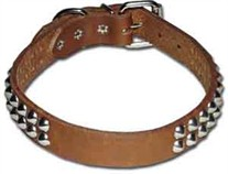 "1"" wide 2-Row Cone Studded Leather Dog Collar"
