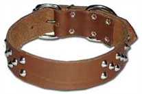 1.5 inch wide Regular Cone Studded Leather Dog Collar