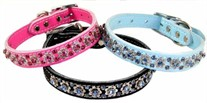 Leather & Fancy Filigree Rhinestone Collar  3/4 inch wide
