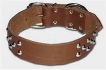 1.5 inch wide Front D Cone Stud<br> Leather Dog Collar