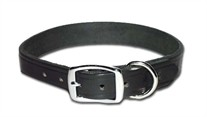 Flat Latigo Leather Dog  Collar 1 Inch Wide