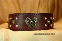 Gaelic Dragonheart Burgundy Dog Collar