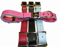Engraved Buckle Leather Collar (adjusts 16 to 19 inches)