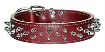 1-1/2 inch wide Leather Spiked Dog Collar