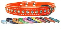Leather & Crystals Dog Collars 1/2 inch wide