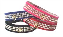 3 Row Rhinestones Velvet Collar 1 in wide