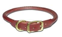 Round Latigo Leather Dog Collar 3/4 Inch Wide