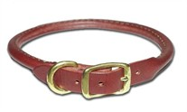 Round Latigo Leather Dog Collar 1 Inch Wide